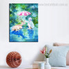 A Little Girl Animal Animated Watercolor Framed Artwork Photo Canvas Print for Living Room Wall Decor