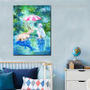 A Little Girl Animal Animated Watercolor Framed Artwork Photo Canvas Print for Lounge Room Wall Outfit