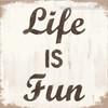 Life Fun Typography Framed Effigy Photo Canvas Print