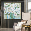 White Rose Flowers Handmade Painting Print for Living Wall Décor