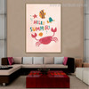 Crab Animal Kids Quote Modern Nordic Framed Portmanteau Portrait Canvas Print for Room Wall Decor