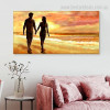 Couple Walking Landscape Nature Modern Framed Smudge Portrait Canvas Print for Room Wall Decor