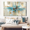 White & Blue Abstract Oil Painting Print for Living Room Wall Decoration
