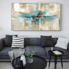 White & Blue Abstract Oil Wall Art Painting Print for Living Room Wall Decor