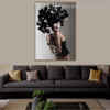 Black Floral Hat Abstract Figure Framed Effigy Image Canvas Print for Wall Finery