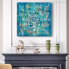 Abstract Classic Brick Draw with Mandala Flower Picture Print in Turquoise Shade