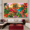 Flying Parrots Birds Floral Framed Painting Photo Canvas Print for Room Wall Onlay