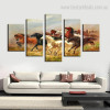Thousands Steeds Gallop Animal Modern Framed Portmanteau Picture Canvas Print Wall Art