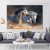 Two Equines Animal Contemporary Framed Effigy Picture Canvas Print for Wall Hanging Decor