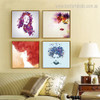 Female Visage Abstract Framed Effigy Photo Canvas Print for Room Wall Drape