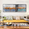 Orange Blue Abstract Panoramic Modern Framed Effigy Portrait Canvas Print for Room Wall Ornament