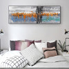 Orange Blue Abstract Panoramic Modern Framed Effigy Portrait Canvas Print for Wall Hanging Decor