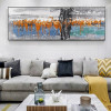 Orange Blue Abstract Panoramic Modern Framed Effigy Portrait Canvas Print for Room Wall Outfit
