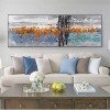Orange Blue Abstract Panoramic Modern Framed Effigy Portrait Canvas Print for Room Wall Adornment
