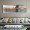 Orange Blue Abstract Panoramic Modern Framed Effigy Portrait Canvas Print for Room Wall Art