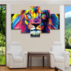 Colorific Lion Abstract Animal Watercolor Framed Portraiture Photograph Canvas Print for Room Wall Outfit