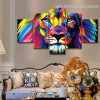 Colorific Lion Abstract Animal Watercolor Framed Portraiture Photograph Canvas Print for Room Wall Disposition