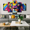Colorific Lion Abstract Animal Watercolor Framed Portraiture Photograph Canvas Print for Room Wall Getup