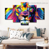 Colorific Lion Abstract Animal Watercolor Framed Portraiture Photograph Canvas Print for Wall Hanging Decor
