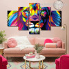 Colorific Lion Abstract Animal Watercolor Framed Portraiture Photograph Canvas Print for Room Wall Onlay