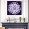 Gradient Mandala Abstract Modern Floral Framed Painting Photo Canvas Print for Room Wall Decoration