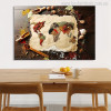 Foodie World Map Wall Art Print for Dining Room Wall Decoration