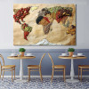 Foodie World Map Wall Art Print for Restaurant Wall Decoration