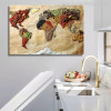 Foodie World Map Canvas Print for Kitchen Decoration