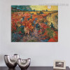 The Red Vineyard Reproduction Post Impressionist Framed Artwork Picture Canvas Print for Room Wall Decoration
