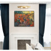 The Red Vineyard Reproduction Post Impressionist Framed Artwork Picture Canvas Print for Room Wall Drape