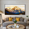 Golden Mountain Bird Landscape Framed Painting Picture Canvas Print for Room Wall Ornament