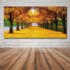Golden Trees Botanical Landscape Framed Portrayal Pic Canvas Print for Room Wall Getup