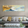Dapple Lines Abstract Modern Panoramic Portrayal Picture Canvas Print for Room Wall Getup