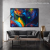 Multicolored Humans Abstract Figure Modern Framed Painting Picture Canvas Print for Room Wall Outfit
