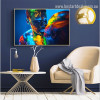 Colorful Lovers Abstract Figure Contemporary Framed Painting Photo Canvas Print for Room Wall Getup