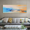 Motley Clouds Abstract Panoramic Modern Framed Portraiture Image Canvas Print for Room Wall Drape