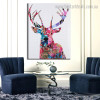 Sika Deer Animal Abstract Modern Framed Painting Picture Canvas Print for Room Wall Ornament