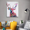Sika Deer Animal Abstract Modern Framed Painting Picture Canvas Print for Room Wall Getup