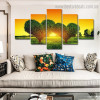 Green Heart Botanical Nature Modern Framed Effigy Picture Canvas Print for Room Wall Getup