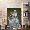 Frog Pile Animal Modern Framed Artwork Picture Canvas Print for Room Wall Garnish