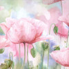 Abstract Watercolor Pink Poppy Flowers Canvas Print