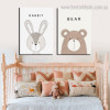 Bear Rabbit Wild Animal Cartoon Modern Painting Framed Image Canvas Print for Room Wall Outfit