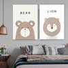 Bear Lion Animated Animal Modern Framed Painting Picture Canvas Print for Room Wall Getup