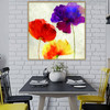 Abstract Watercolor Poppy Flowers Painting Canvas Print for Dining Room Wall Art