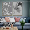 Black Triangles Abstract Geometric Modern Framed Painting Pic Canvas Print for Room Wall Finery
