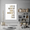 Small Moments Quote Nordic Framed Portraiture Picture Canvas Print for Kids Room Wall Drape