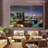 The New York City in Night Art Picture Print for Living Room Wall Art