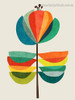 Dapple Leaves Abstract Botanical Nordic Painting Photo Canvas Print