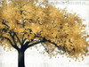 Golden Colour Tree Abstract Oil Painting Print