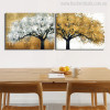 Golden and Silver Colour Tree's Abstract Oil Painting Print for Dining Room Decor